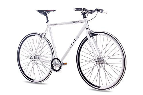 28' Zoll FIXIE RENNRAD URBANRAD SINGLE SPEED KCP FG1 FLAT 2016 FIXED GEAR weiss, Rahmengröße:59 cm