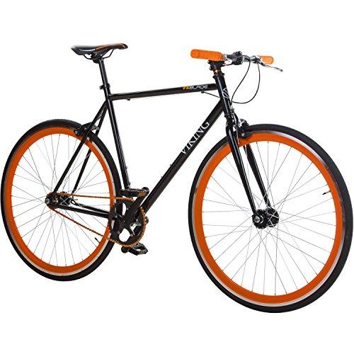 28′ Fixie Singlespeed Bike Viking Blade 5 Farben zur Auswahl, Farbe: Schwarz / Orange; Rahmengrösse: 59 cm