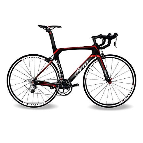 BEIOU® 2016 700C Rennrad Shimano 105 Bike 5800 11S Rennrad T800-M40 Carbon Aero-Rahmen Ultra-light 18.3lbs CB013A-2 (Matte Black&Red, 540mm)