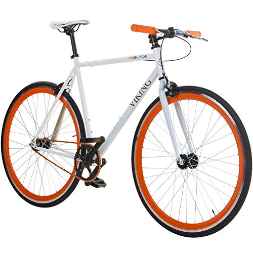 28' Fixie Singlespeed Bike Viking Blade 5 Farben zur Auswahl, Farbe: Weiss / Orange; Rahmengrösse: 56 cm