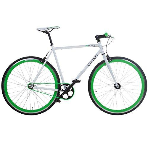 28' Fixie Singlespeed Bike Viking Blade 5 Farben zur Auswahl, Farbe: Weiss / Grün; Rahmengrösse: 53 cm