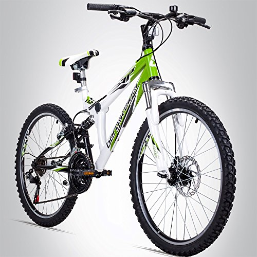 Bergsteiger Montreal 24 Zoll Mountainbike, vollgefedert, 18 Gang Shimano, Scheibenbremse, geeignet für 8 – 11 Jahre
