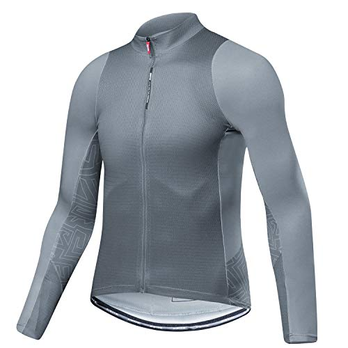 Santic Fahrradtrikot Herren Langarm Radtrikot Winter Fahrradshirt Herren Atmungsaktiv mit Taschen Grau EU M