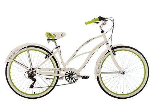 KS Cycling Damen Fahrrad Beachcruiser Bellefleur, weiß-Grün, 26
