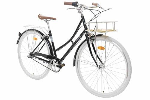 Fabric Cityrad – Hollandrad Damen Fahrrad mit Korb, Shimano Inter 3-Gang, 5 Farben, 14 Kg (Black Hackney Deluxe, 45)
