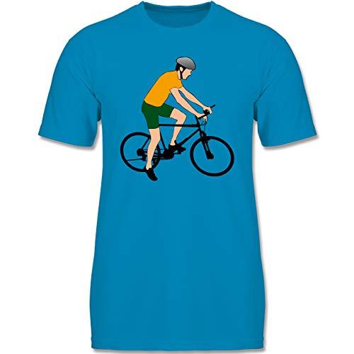 Sport Kind – Fahrradfahrer Citybike Radfahrer – 152-164 (12-14 Jahre) – Azurblau – F140K – Jungen T-Shirt