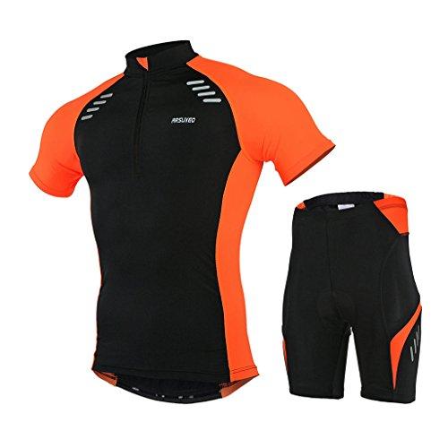 GWELL Herren Radtrikot Set Fahrradbekleidung Schnell Trocken Fahrrad Trikot Kurzarm + Radhose mit 3D Sitzpolster orange 2XL