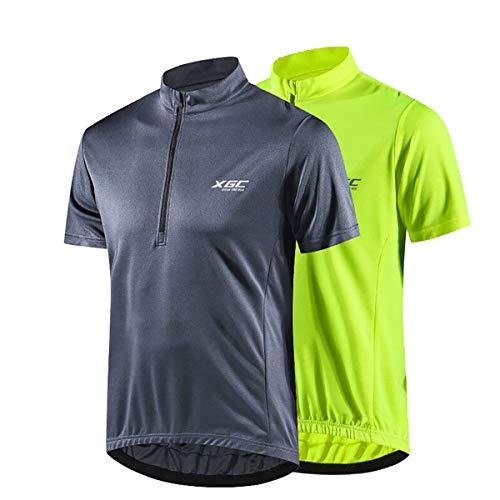 Herren Kurzarm Radtrikot Fahrradtrikot Fahrradbekleidung für Männer mit Elastische Atmungsaktive Schnell Trocknen Stoff 1-2er Packung (2er Packung, XL)
