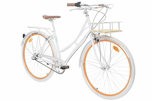 Fabric Cityrad – Hollandrad Damen Fahrrad mit Korb, Shimano Inter 3-Gang, 5 Farben, 14 Kg. (Pearl Whitechapel Deluxe, 45)