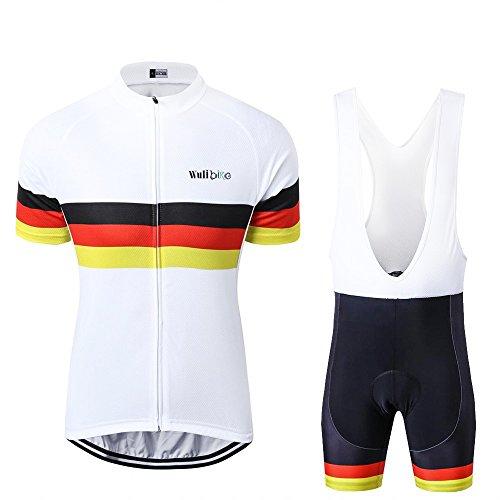 Männer Radtrikot Set Atmungsaktiv Kurze Hülsen-Fahrrad-Hemd + Shorts 3D Gepolsterte Quick Dry UK/DE/FR/IT Flagge Radfahren Anzüge