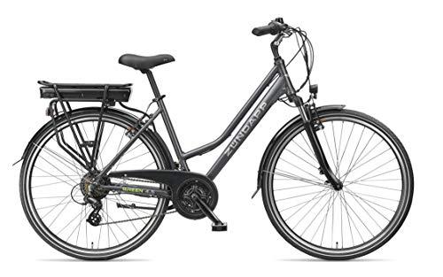 ZÜNDAPP E-Bike Damen Elektrofahrrad Alu, mit 21-Gang Shimano Kettenschaltung, Pedelec Citybike leicht, 250W und 10Ah, 36V Lithium-Ionen-Akku, Green 4.5