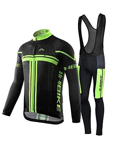 INBIKE Radtrikot Set für Herren Fahrradbekleidung Langarm mit Trägerhose L