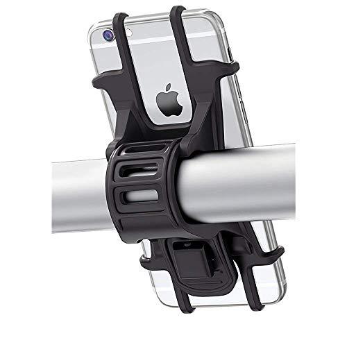 Handyhalterung Fahrrad, Bovon Silikon Verstellbarer Fahrradhalterung für iPhone XS/X/8 Plus/Galaxy S9/S8 Plus, Einfach zu Montieren, Ideal für Mountainbike, Rennrad & Motorrad(4,5-6,0 Zoll)(Schwarz)