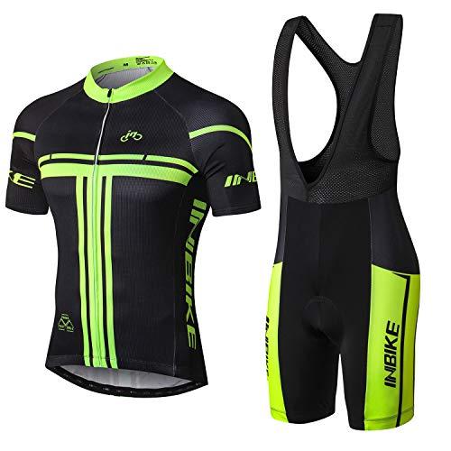 INBIKE Radtrikot Set für Herren Fahrradbekleidung Kurzarm mit Trägerhose(L)