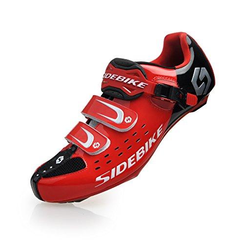 Herren/Mann Professionelle Radschuhe Rennrad Fahrradschuhe (SD-001 Rot / Schwarz, EU 46/Ft 29cm) (Wählen Sie eine Größe mehr als üblich)