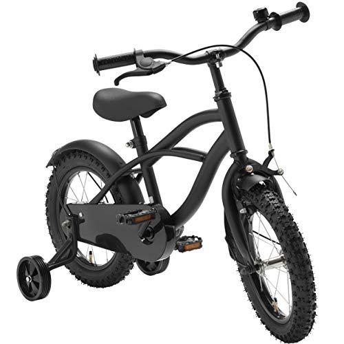 Black Cruiser 14 Zoll Fahrrad Schwarz Matt Kinderfahrrad Stützräder Jungen 1401G