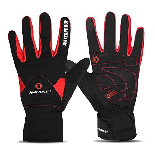 INBIKE Handschuhe Herren Damen Winter Outdoor Beheizbar Winterhandschuhe Warm Wasserdicht für Skifahren Snowboard Motorradfahren Radfahren und Wandern(Rot M)
