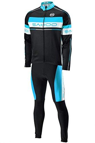 SAHOO Coole Mode Herbst / Winter Radfahren Anzüge, Langarm Kleidung und 3D-GEL gepolsterte Hosen, straff und elastisch Radtrikot (XXL, Schwarz & Blau)