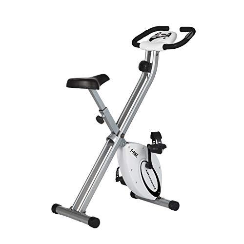 Ultrasport F-Bike, Fahrradtrainer, Heimtrainer, faltbares Fitnessfahrrad mit Trainingscomputer und Handpulssensoren, klappbar, Silber