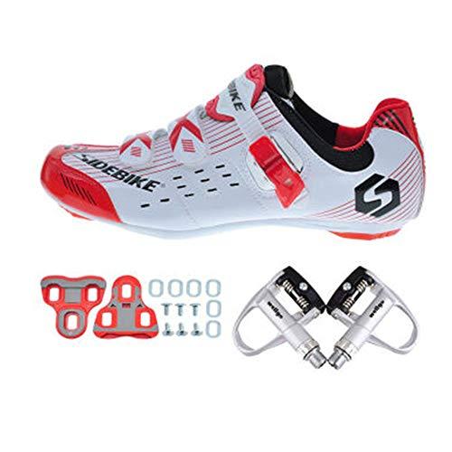 SIDEBIKE Radfahren Schuhe mit Pedalen & Pedalplatten, Rennrad Schuhe für Erwachsene, Atmungsaktive Nylon Windabweisende Fahrradschuhe Kunstleder (44)