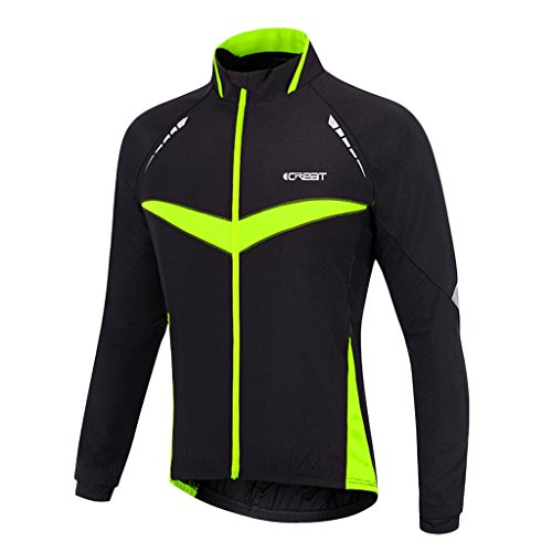 iCREAT Herren Jacket Air Jacket Winddichte Wasserdichte MTB Mountainbike Jacket Visible reflektierend, Fleece Warm Jacket für Herbst, Grün Gr.M