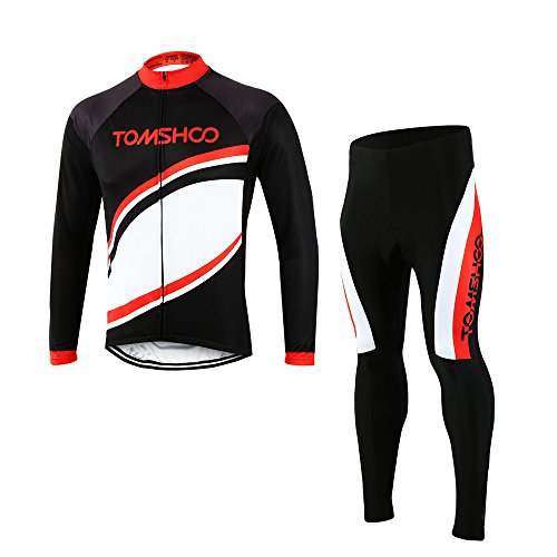 TOMSHOO Radtrikot Radfahren Kleidung Set Herren Set Schnell Trocken Langarm-Radfahren Jersey mit Hose f¨¹r Mountain Biking und Outdoor