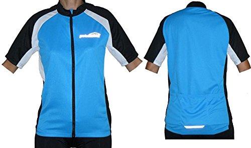 protectWEAR Fahrradtrikot, Fahrradshirt, Kurzarm, Blau/Schwarz/Weiß, M