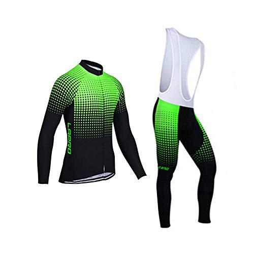 d.Stil Herren Radtrikot Set Langarm mit Sitzpolster UV Schutz für MTB Rennrad Fahrrad Jersey + Trägerhose Radsportanzug M – XXXXL (Schwarz-Grün (mit Fleece), M (mit Fleece))