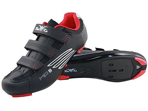 Raiko Sportswear HP3 Fahrradschuhe SPD Rennrad Klettverschluss Leder mit Netzeinsätzen Airflow Sohle Größe 38 schwarz