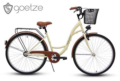 Polbaby Goetze Eco Cream 28 Zoll Fahrrad Citybike Stadtrad Retro Schwarz – Metallkorb