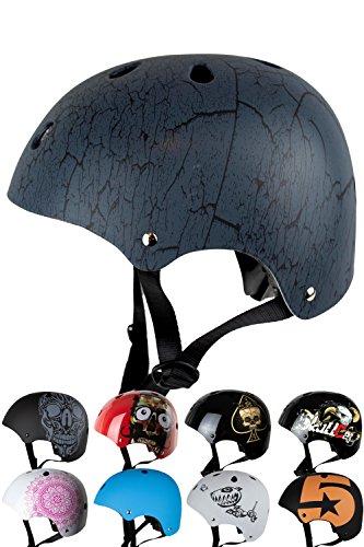 Skullcap BMX Helm Skaterhelm Fahrradhelm Herren | Damen | Jungs & Kinderhelm- Gr. S (49 – 54 cm) Kinderhelm, Crack – Kinderhelm