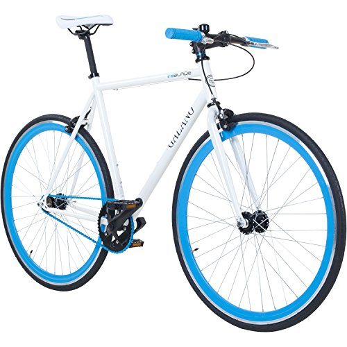 Galano 700C 28 Zoll Fixie Singlespeed Bike Blade 5 Farben zur Auswahl, Rahmengrösse:56 cm, Farbe:Weiß/Blau