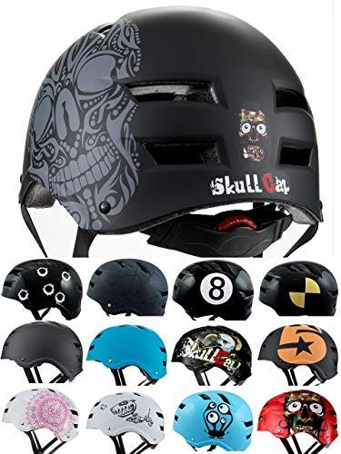 Skullcap BMX Helm Skaterhelm Fahrradhelm Herren | Damen | Jungs & Kinderhelm- Gr. M (54 – 56 cm), Skull