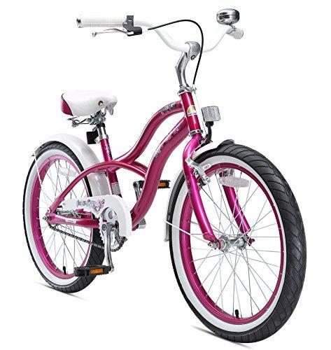 BIKESTAR Premium Sicherheits Kinderfahrrad 20 Zoll für Mädchen ab 6 – 7 Jahre ★ 20er Kinderrad Cruiser ★ Fahrrad für Kinder Violet