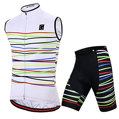 GWELL Herren Fahrradbekleidung Set Große Größen Ärmellos Radtrikot + Radhose mit Sitzpolster weiß XL