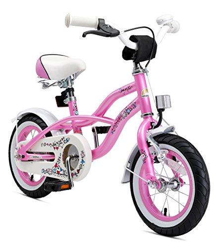 BIKESTAR Premium Sicherheits Kinderfahrrad 12 Zoll für Mädchen ab 3 – 4 Jahre | 12er Kinderrad Cruiser | Fahrrad für Kinder Pink