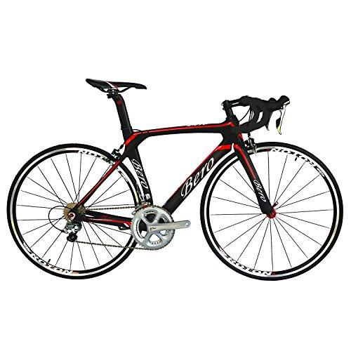 BEIOU® 2016 700C Rennrad Shimano 105 Bike 5800 11S Rennrad T800-M40 Carbon Aero-Rahmen Ultra-light 18.3lbs CB013A-2 (Matte Black&Red, 520mm)