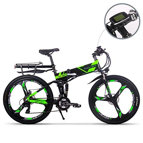 RICH BIT Elektrofahrräder aktualisiert RT860 36V 12.8A Lithium Batterie Faltrad MTB Mountainbike E Bike 17 * 26 Zoll Shimano 21 Speed Fahrrad intelligente Elektrofahrrad (Grün)
