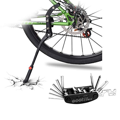 DOBEN Fahrradständer Einstellbarer – Hinterbauständer Aluminiumlegierung – Anti-Rutsch Gummi Fuß Seitenständer für 24-29 Zoll – Fahrrad Ständer/Kickstand / Prop Stand für Mountainbike/MTB, und mehr