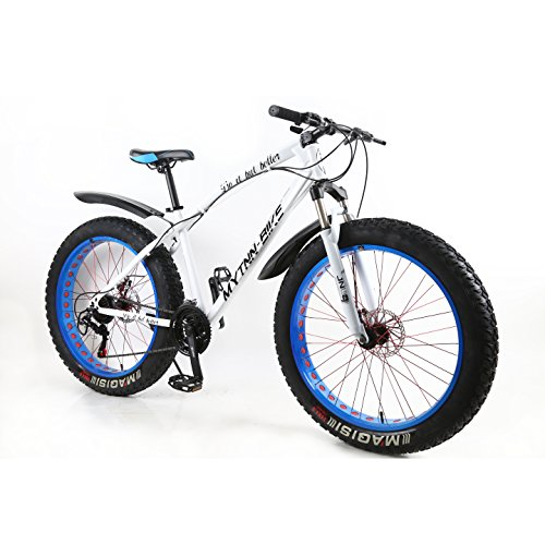 MYTNN Fatbike 26 Zoll 21 Gang Shimano Fat Tyre Mountainbike Gold 47 cm RH Snow Bike Fat Bike (weiß/Blau)