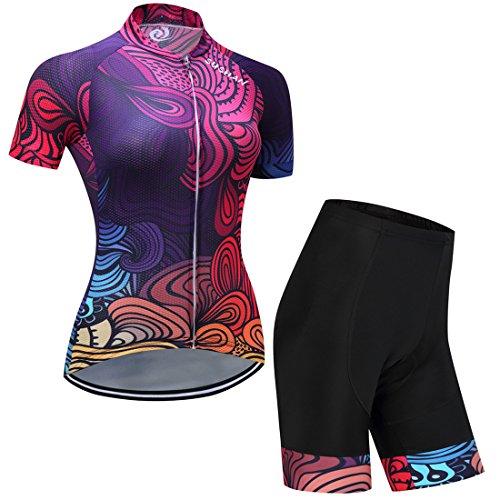 GWELL Damen Blumen Radtrikot Fahrradbekleidung Set Trikot Kurzarm + Radhose mit Sitzpolster Violett XL
