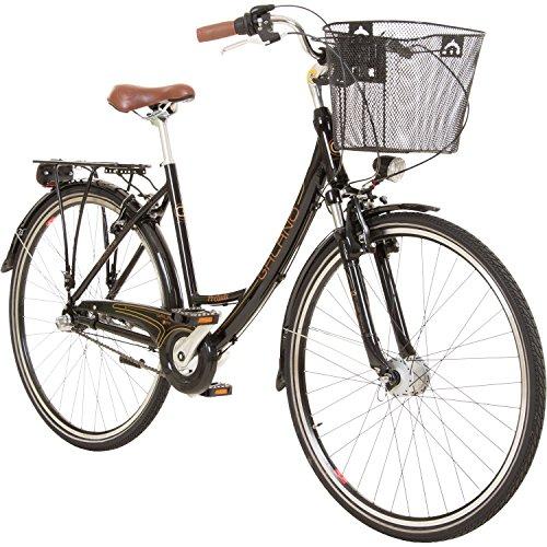 Galano 28 Zoll Prelude Citybike Stadt Fahrrad Licht 3 Gang Nexus, Farbe:Schwarz
