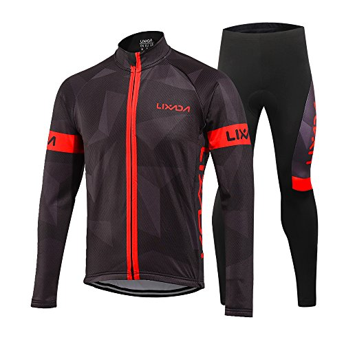 Lixada Radtrikot Fahrradbekleidung Set Langarm Winddicht Herren Winter Thermische Fleece mit 3D Polster Hosen (M, Rot)