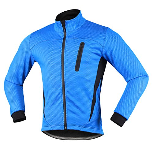 iCREAT Herren Jacket Air Jacket Winddichte MTB Mountainbike Jacket Visible reflektierend, Fleece Warm Jacket, Blau Gr.L