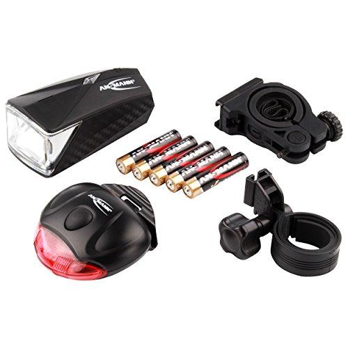 ANSMANN LiteRider StVZO Fahrradlicht LED Beleuchtungsset mit Frontlicht & Rücklicht – Fahrradlampe batteriebetrieben – zugelassen & abnehmbar – Beleuchtung für Fahrrad, Mountainbike, eBike, Rennrad