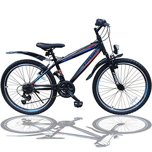 Talson 26 Zoll Mountainbike Fahrrad MIT GABELFEDERUNG & Beleuchtung 21-Gang Shimano Faster BBO