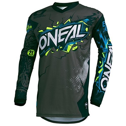 O'Neal Element Villain Motocross Kinder Jersey MTB Mountain Bike Trikot Enduro MX FR DH Kids, 002E-9-Youth, Farbe Grau, Größe M