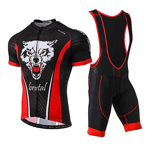 SKYSPER Radtrikot Herren Kurzarm Fahrradbekleidung Set Outdoor Sports Radfahren Jersey + Radfahren Latzhose Shorts im Sommer (CN)XL=(EU)L-LB