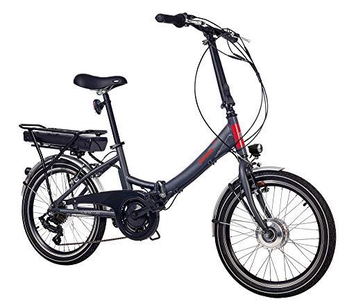 Telefunken E-Bike Klapprad Elektrofahrrad Alu, grau, 7 Gang Shimano Kettenschaltung – Pedelec Faltrad leicht, 250W und 9 Ah/36V Lithium-Ionen-Akku, Reifengröße: 20 Zoll, Kompakt F800