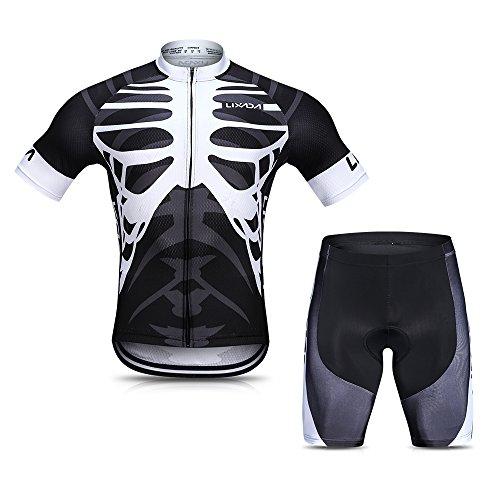 Lixada Herren Radtrikot Set, Atmungsaktiv Quick-Dry Kurzarm Radsport-Shirt + Gel Gepolsterte Shorts, (Schwarz&Weiß, L)